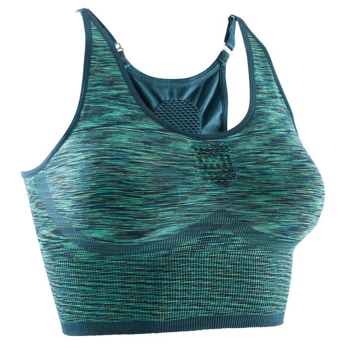 Sujetador-top Yoga+ sin costuras mujer verde jaspeado