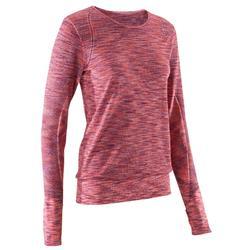 女款長袖無縫T恤Yoga+ 500 - 酒紅色/粉色