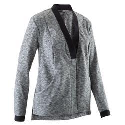 Vest yoga+ dames zwart/gemêleerd grijs