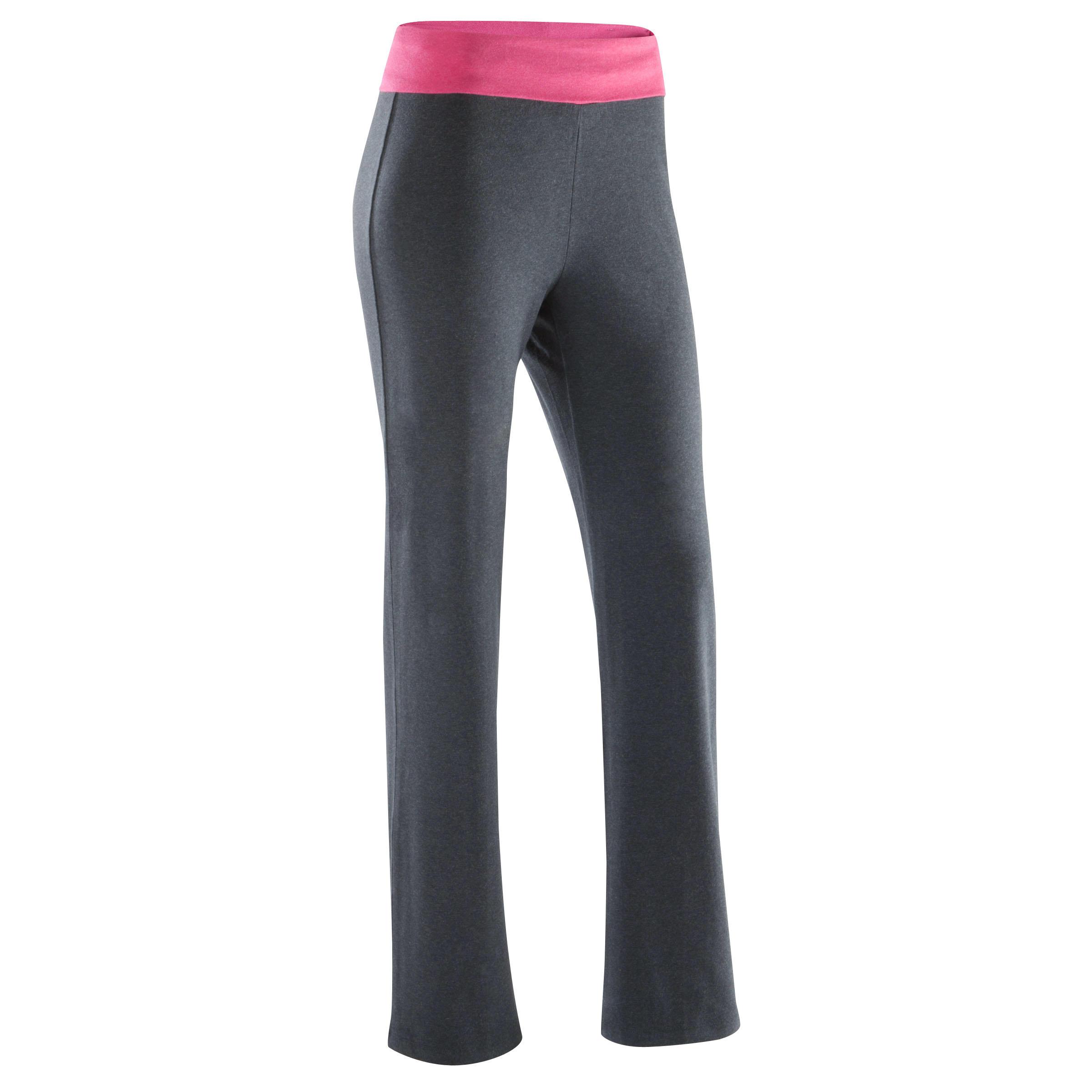Pantalón yoga mujer algodón de cultivo biológico gris moteado / rosa