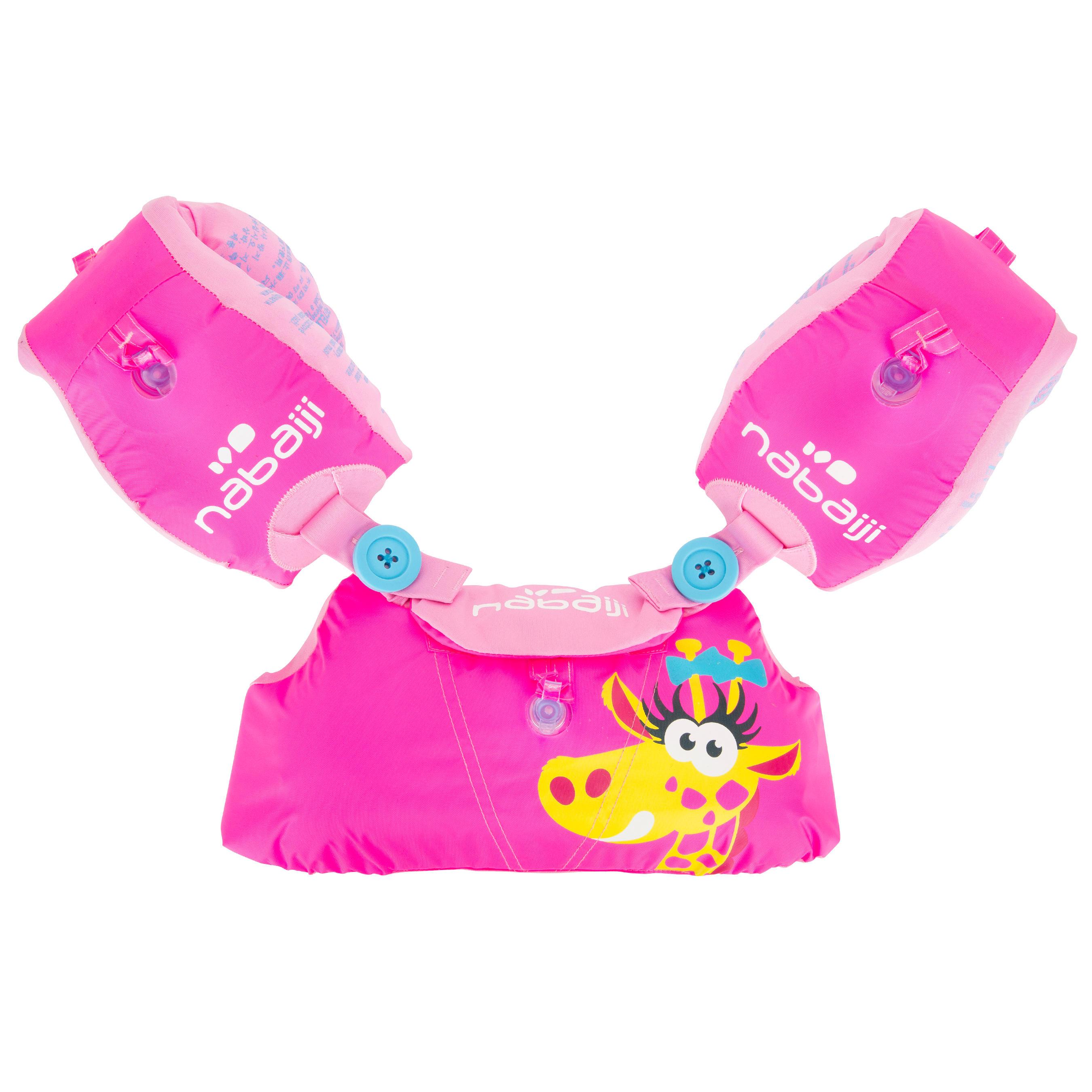 "Pink Child's TISWIM Adaptable Armband-Waistbands Printed ""GIRAFFE"""