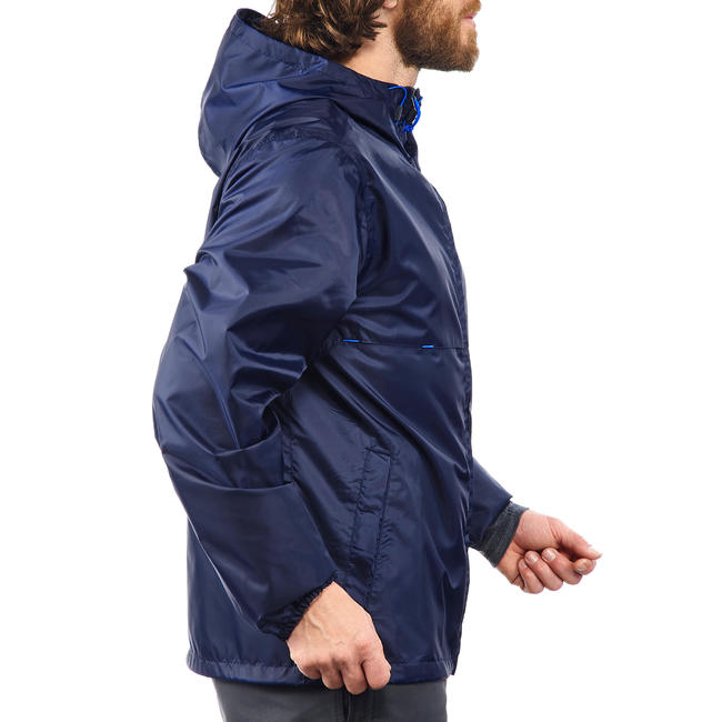 Men's country walking rain coat - NH100 Raincut Full Zip