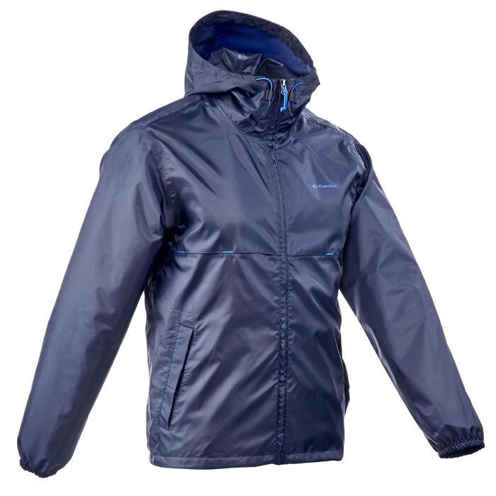 Waterdichte regenjas wandelingen heren Raincut Zip marineblauw