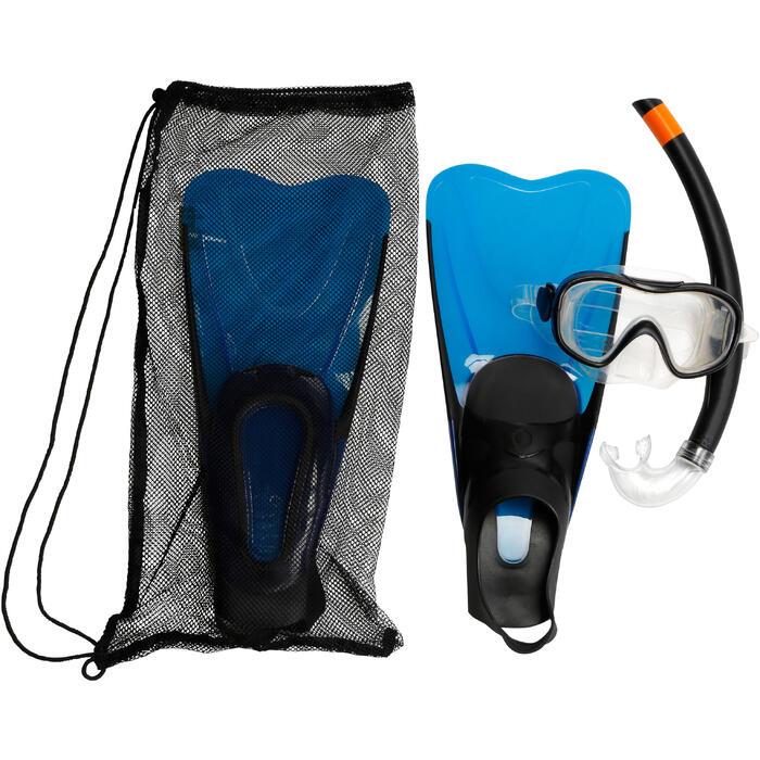 8d2a14f66fee7a Snorkelset duikbril, snorkel en zwemvliezen PMT100 blauw zwart volwassenen