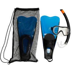 Kit de snorkeling PMT palmes masque tuba 100 adulte bleu noir