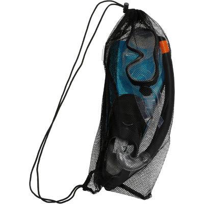 Kit palmes masque tuba d'apnée freediving PMT100 bleu noir pour enfants