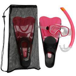 Kit palmes masque tuba d'apnée freediving PMT100 rose pour adultes