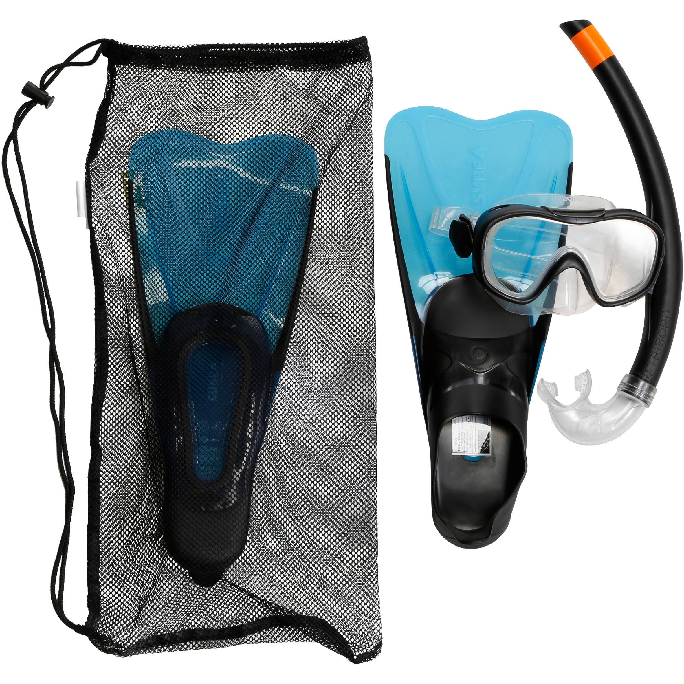FMS 100 freediving snorkel fins mask kit for children blue black