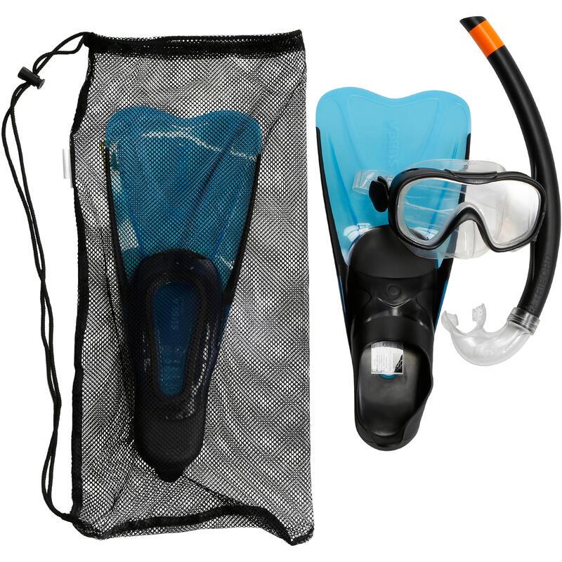 Kit Aletas Máscara Tubo Snorkel Snk 500 Niños Azul