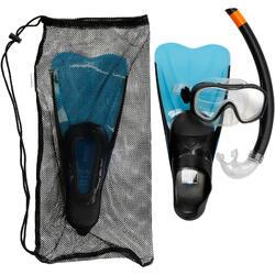 Set duikbril, snorkel en vinnen 100 voor kinderen