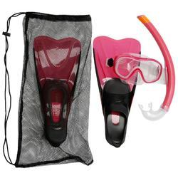 Kit de snorkel PMT aletas máscara tubo 100 niños rosa