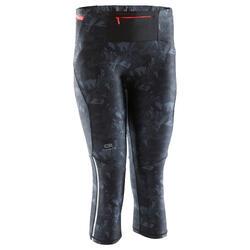 Laufhose 3/4 Tights Trail Damen schwarz/grau mit Muster
