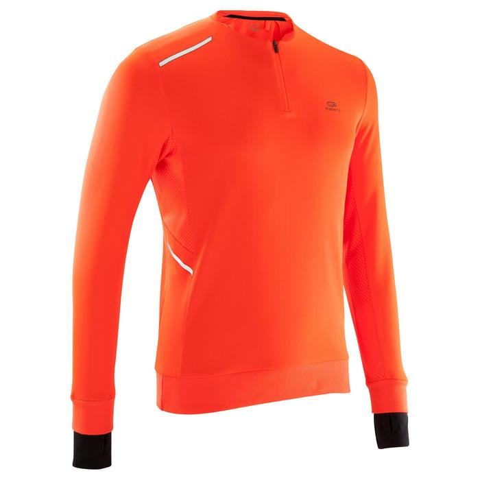 Loopshirt lange mouwen heren Run Warm+ oranje