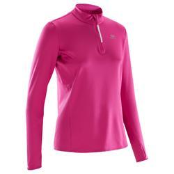 女款慢跑針織長袖緊身衣RUN WARM-粉紅色