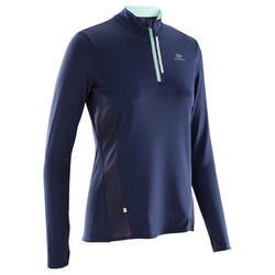 Run Dry + Zip Women's Long-Sleeved Running Jersey - Dark Blue