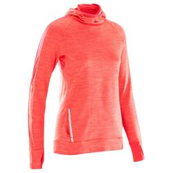 CAMISETA MANGA LARGA JOGGING MUJER RUN WARM HOOD ROJO CORAL