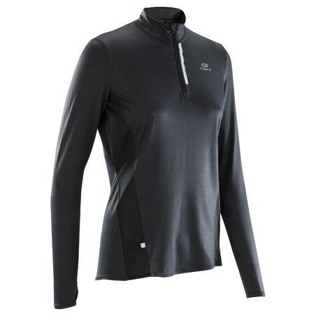Jersey Lari Run Dry+ Lengan Panjang Wanita dengan Ritsleting - Hitam