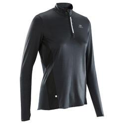 女款跑步長袖拉鍊運動衫Run Dry + - 黑色