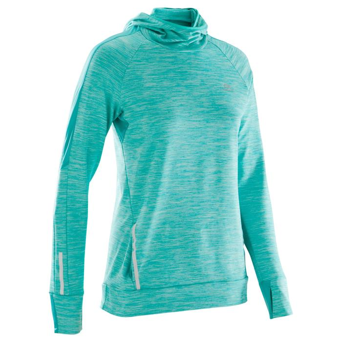 MAILLOT MANCHES LONGUES JOGGING FEMME RUN WARM HOOD CHINE - 1172804