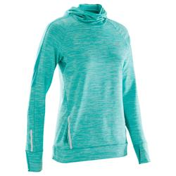 MAILLOT MANCHES LONGUES JOGGING FEMME RUN WARM HOOD CHINE