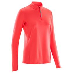 Camiseta Manga Larga Running Kalenji Mujer Rosa Coral Fluorescente