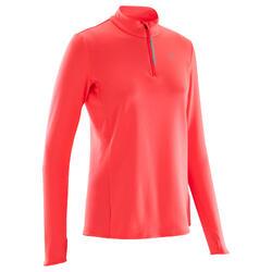 Camiseta Manga Larga Running Kalenji Run Warm Mujer Rosa Coral Fluorescente