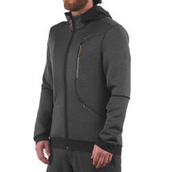 Warme stretch herensweater voor trekking Forclaz 900 gemêleerd grijs - 1173503