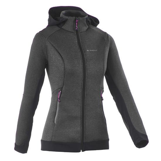 Warme stretch damessweater voor trekking Forclaz 900 gemêleerd - 1173563