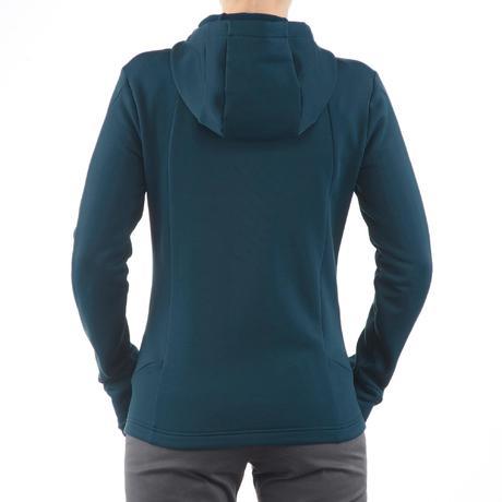 veste polaire de randonn e montagne femme forclaz 400 stretch bleu vert quechua. Black Bedroom Furniture Sets. Home Design Ideas