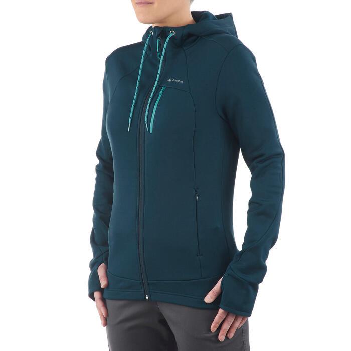 Damesfleece voor wandelen Forclaz 400 stretch blauw/groen