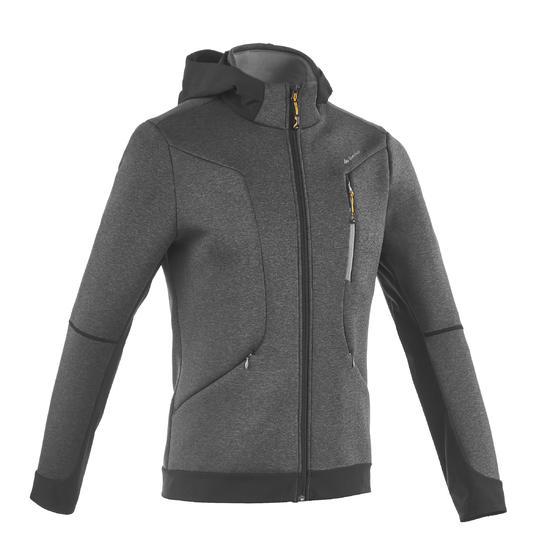 Warme stretch herensweater voor trekking Forclaz 900 gemêleerd grijs - 1173672