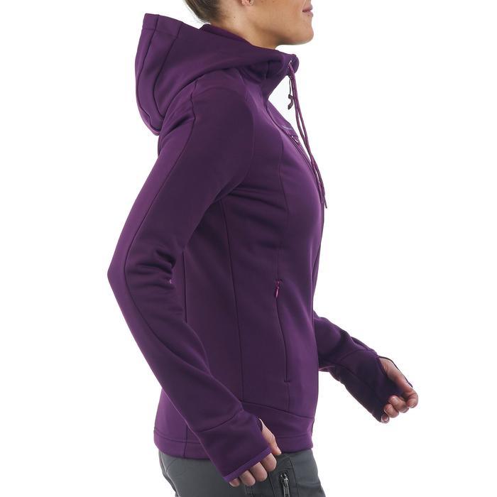 Fleece damesvest voor wandelen Forclaz 400 stretch paars