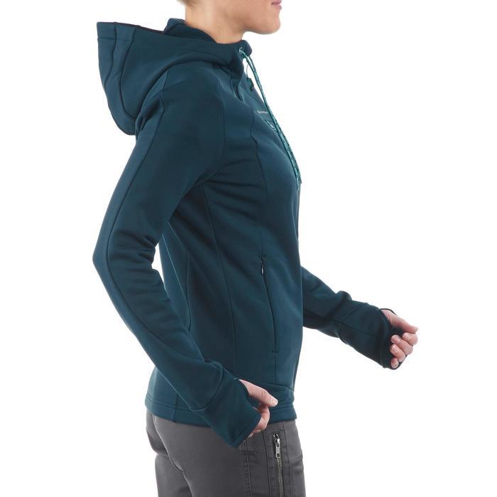 Veste polaire de randonnée montagne femme Forclaz 400 stretch bleu vert