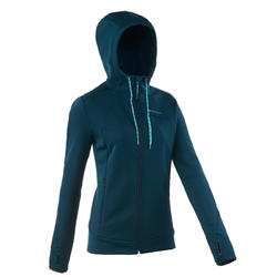Veste polaire de randonnée montagne femme Forclaz 400 extensible bleu vert
