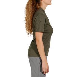 女款健行短袖Polo衫Travel 100-卡其色