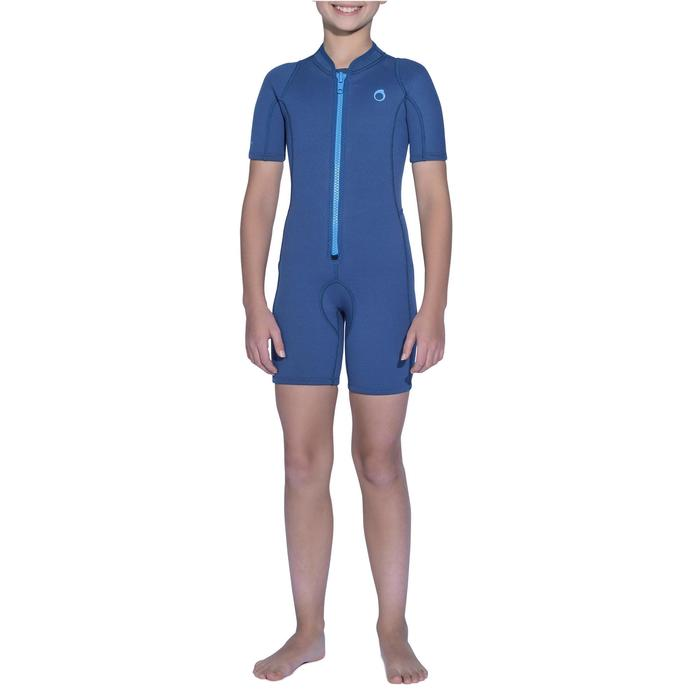 Shorty de snorkeling 2mm enfant 100 bleu marine