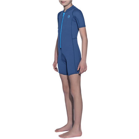 100 2 mm Kids Snorkelling Shorty - Navy Blue