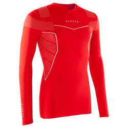 Camiseta Térmica Transpirable Manga Larga Kipsta Adulto Rojo
