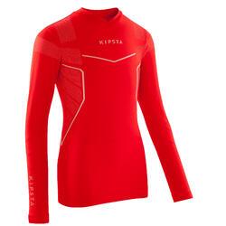 Camiseta térmica de fútbol de manga larga júnior Keepdry 500 rojo