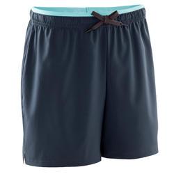 女款足球短褲 F500-灰色/薄荷綠