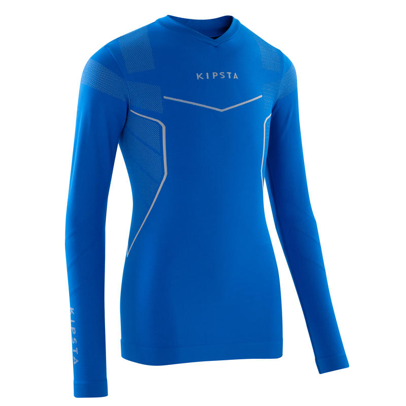 Keepdry 500 Kids' Soccer Long-Sleeved Base Layer - Electric Blue