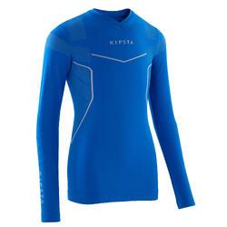Ondershirt voor voetbal lange mouwen kinderen Keepdry 500 electric blue