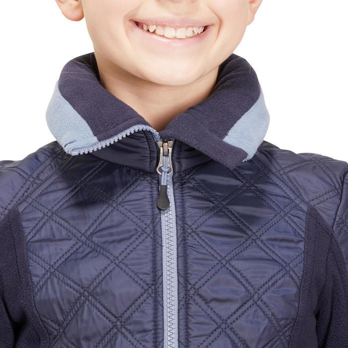 Kinderfleece Paddock ruitersport twee materialen marineblauw en gemêleerd blauw