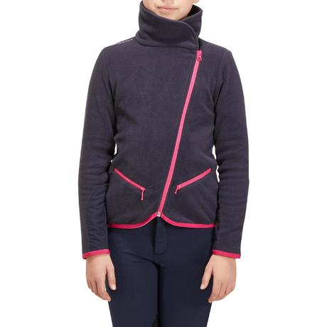Girls' Horse Riding Fleece Jacket - Navy Blue | Fouganza