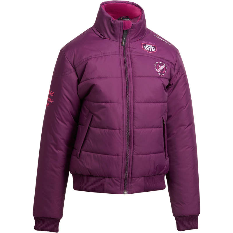 COLD WEATHER JR RIDING JACKETS Horse Riding - Access Warm Anorak - Plum FOUGANZA - Horse Riding