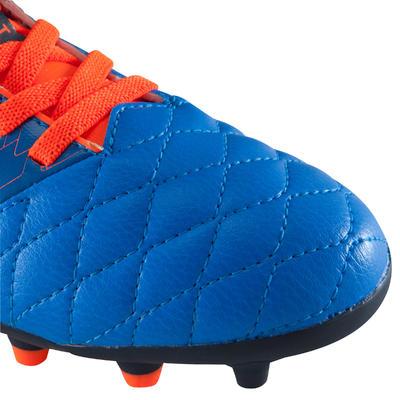 Chaussure de football enfant terrain sec Agility 500 FG scratch bleue orange