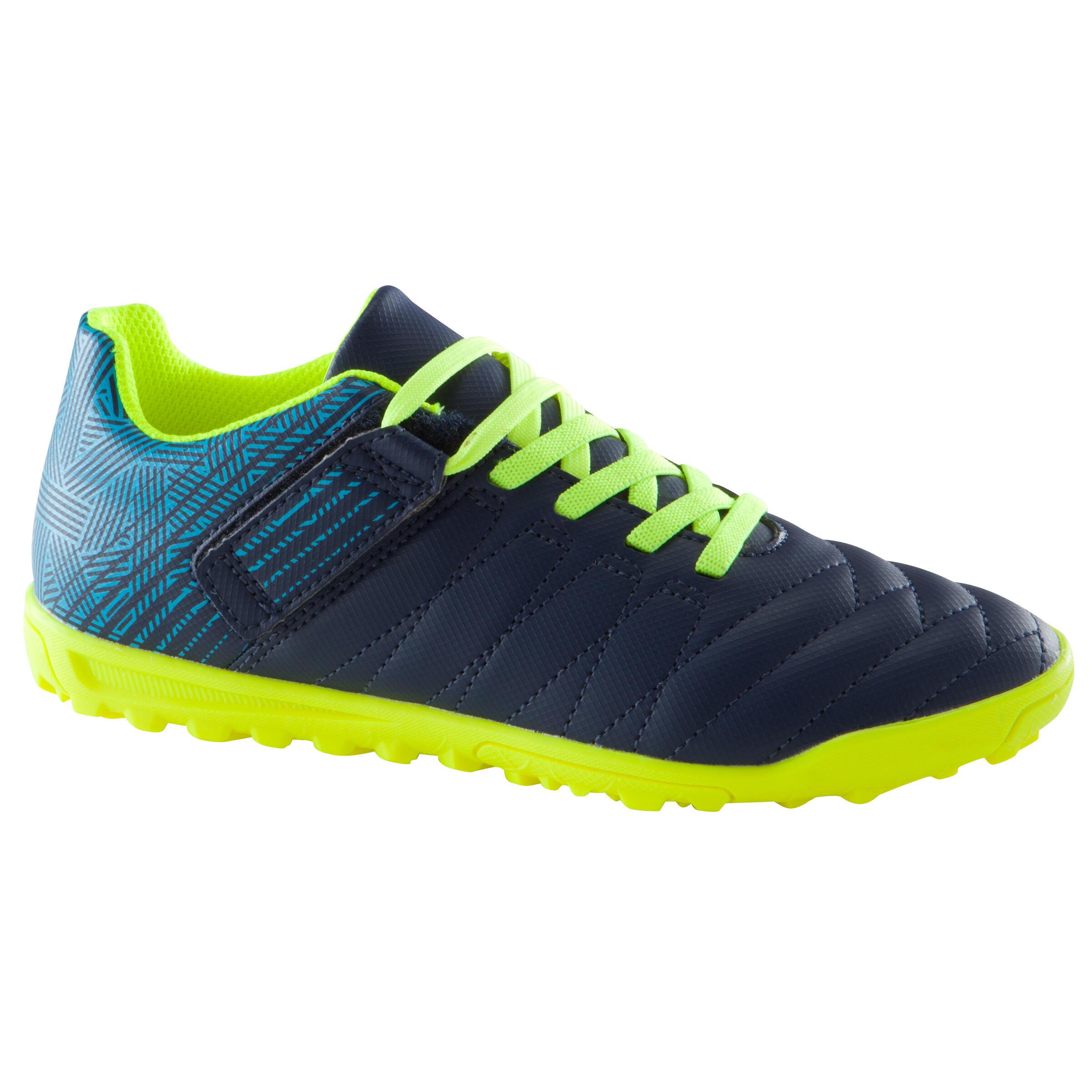 Chaussure de soccer enfant terrains durs CLR 500 HG à velcro bleue jaune