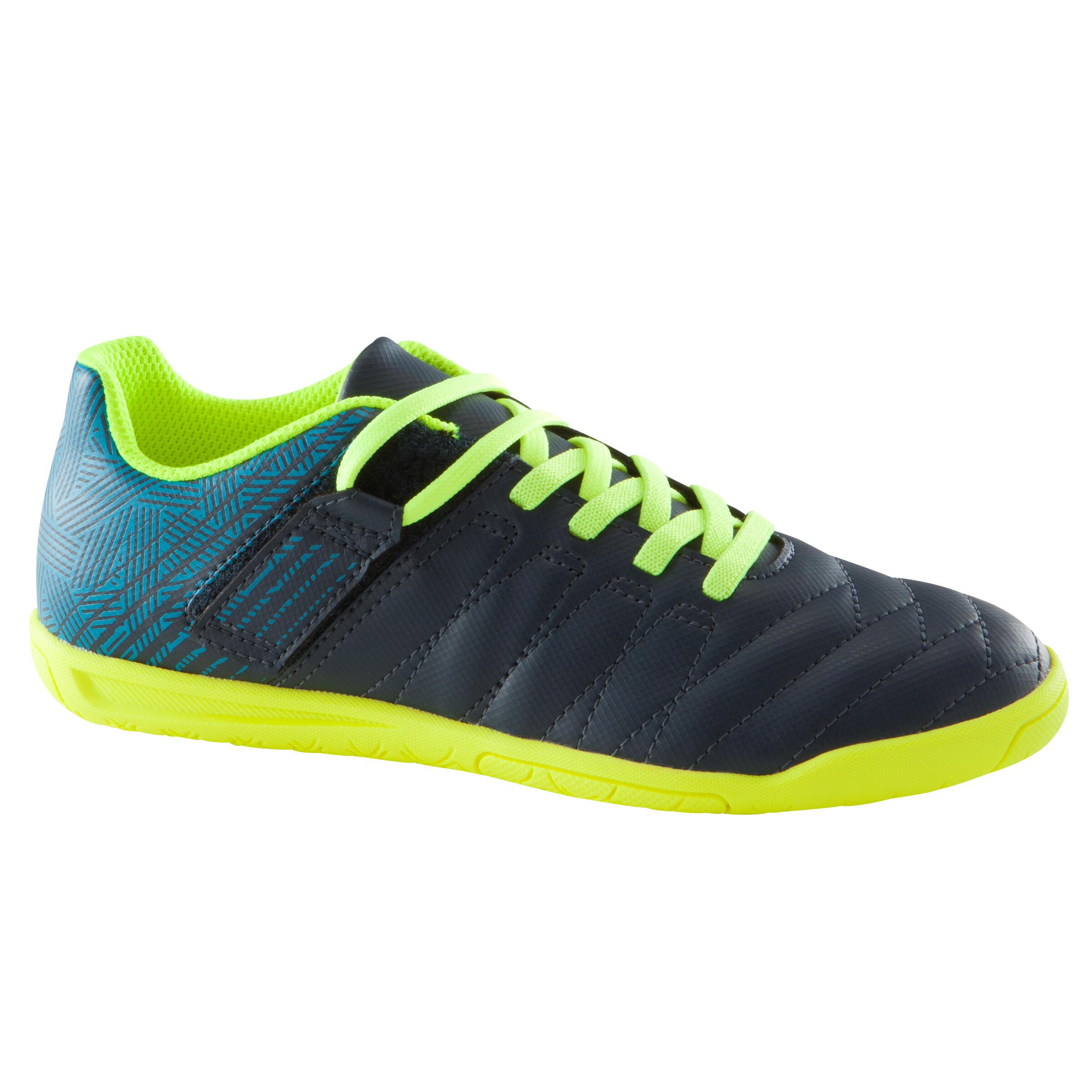 Kipsta Zaalvoetbalschoenen kind CLR 500 sala klittenband blauw/geel
