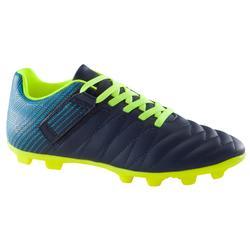兒童款乾地用足球鞋 CLR 500 FG (魔術貼) - 藍色/霓虹黃