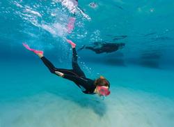 Dames fullsuit voor snorkelen 2 mm zwart/turquoise - 1177354